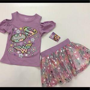 DC Comics Matching Sets - DC Comics shirt and sparkly skirt